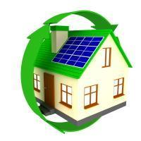 energy efficient house with green circle and solar panels
