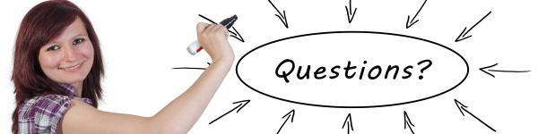 woman with whiteboard with questions and arrows
